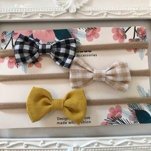 Other - Brand New Set of 3 Linen Baby Newborn Headbands